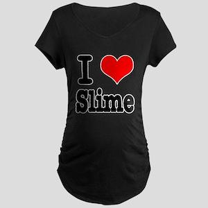 I Heart (Love) Slime Maternity Dark T-Shirt