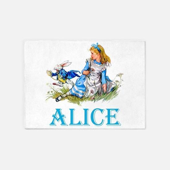 ALICE IN WONDERLAND - BLUE 5'x7'Area Rug