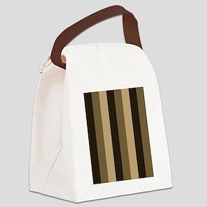 Brown, Tan Stripes Striped Canvas Lunch Bag