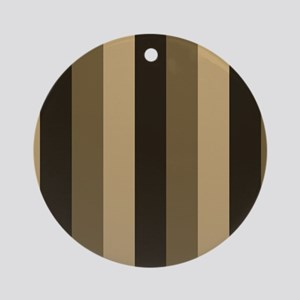 Brown, Tan Stripes Striped Ornament (Round)