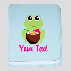 Personalizable Cocktail Frog baby blanket