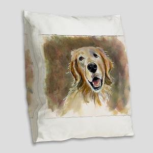Golden Retriever Burlap Throw Pillow