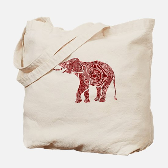 Cute Red and white elephant Tote Bag