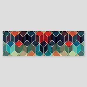 Colorful Cubes Geometric Pattern 2 Bumper Sticker