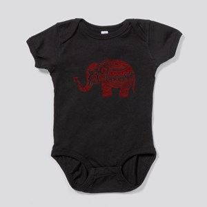 Cute Floral Elephant In Burgundy Red Baby Bodysuit