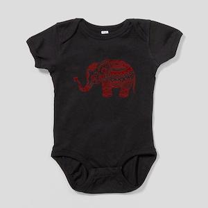 Cute Floral Elephant In Burgundy Red Baby Bodysuit
