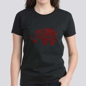 Cute Floral Elephant In Burgundy Red T-Shirt