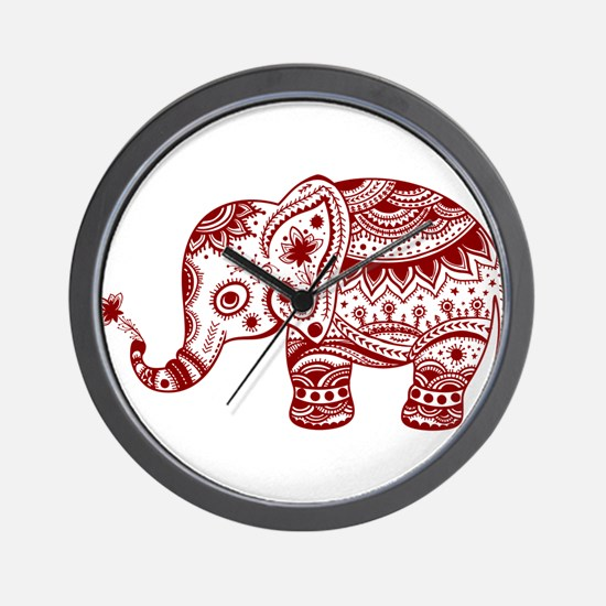 Cute Floral Elephant In Burgundy Red Wall Clock