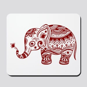 Cute Floral Elephant In Burgundy Red Mousepad