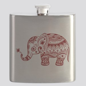 Cute Floral Elephant In Burgundy Red Flask