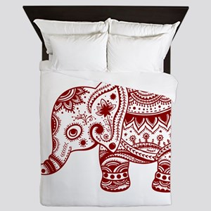 Cute Floral Elephant In Burgundy Red Queen Duvet