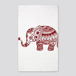 Cute Floral Elephant In Burgundy Red Area Rug