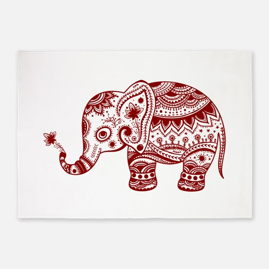 Cute Floral Elephant In Burgundy Re 5'x7'Area Rug