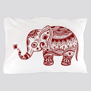 Cute Floral Elephant In Burgundy Red Pillow Case
