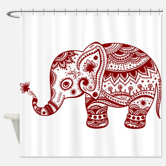 Cute Floral Elephant In Burgundy Re Shower Curtain