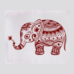 Cute Floral Elephant In Burgundy Red Throw Blanket