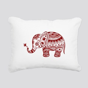 Cute Floral Elephant In Rectangular Canvas Pillow