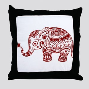 Cute Floral Elephant In Burgundy Red Throw Pillow