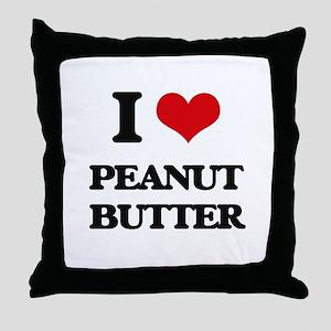 I Love Peanut Butter Throw Pillow