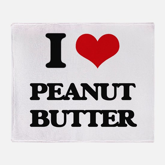 I Love Peanut Butter Throw Blanket