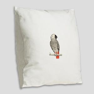African Grey in Pencil Burlap Throw Pillow
