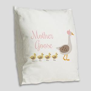 Mother Goose Burlap Throw Pillow