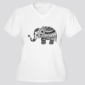 Cute Floral Elephant In Black Plus Size T-Shirt
