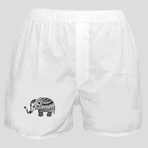Cute Floral Elephant In Black Boxer Shorts