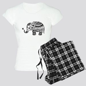 Cute Floral Elephant In Bla Women's Light Pajamas