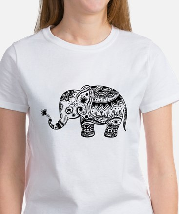 Cute Floral Elephant In Black T-Shirt