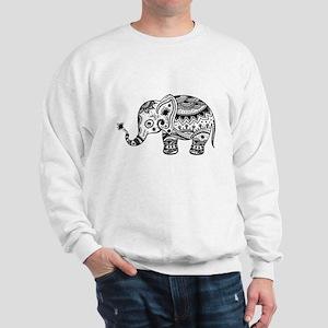 Cute Floral Elephant In Black Sweatshirt