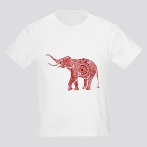 Red & White Ornate Swirls Elephant Monogra T-Shirt