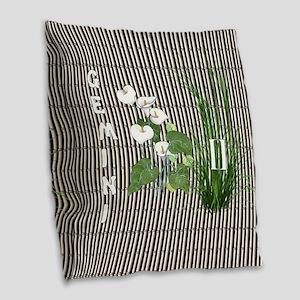 Bamboo and Lily Gemini Burlap Throw Pillow