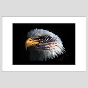 American Flag Eagle Large Poster