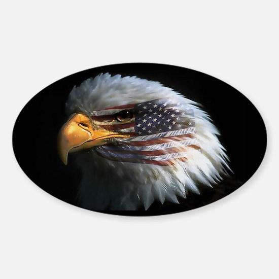 American Flag Eagle Oval Bumper Stickers