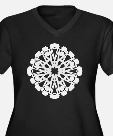 Winter Flake Women's Plus Size V-Neck Dark T-Shirt