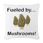 Fueled by Mushrooms Woven Throw Pillow