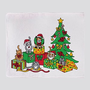 Christmas Cats Throw Blanket