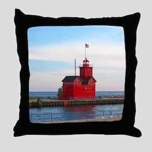 Holland Harbor Lighthouse Throw Pillow