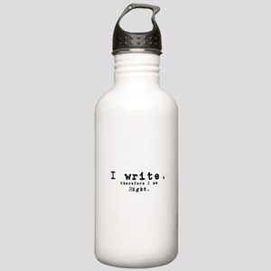 I write, therefore I am right Water Bottle