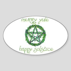 Merry Yule green 2 Oval Sticker