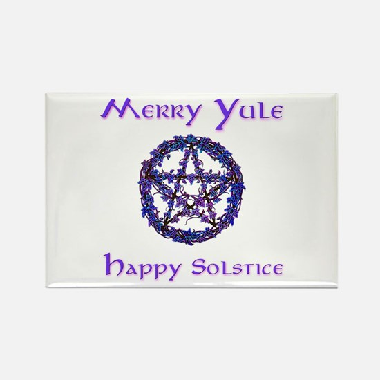 Merry Yule blue Rectangle Magnet