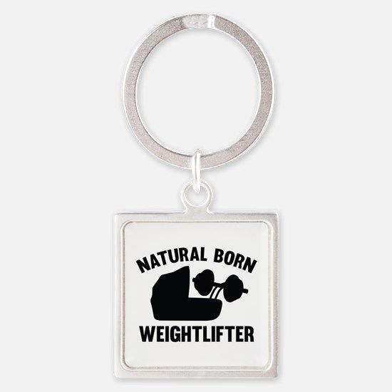 Natural Born Weightlifter Square Keychain