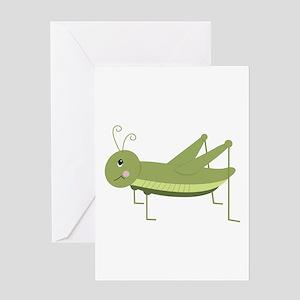 Green Grasshopper Greeting Cards
