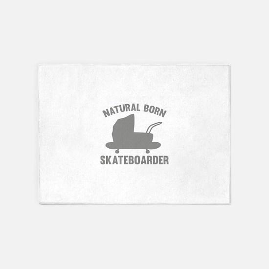 Natural Born Skateboarder 5'x7'Area Rug