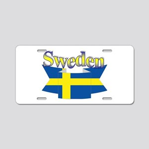 Sweden Flag Ribbon Aluminum License Plate