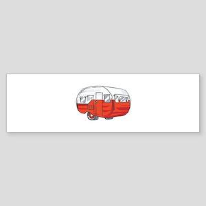VINTAGE RED CAMPER Bumper Sticker