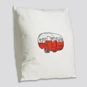 VINTAGE RED CAMPER Burlap Throw Pillow