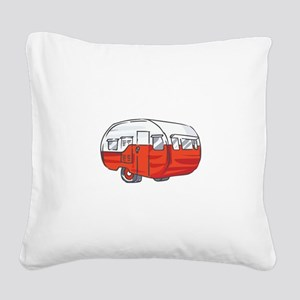 VINTAGE RED CAMPER Square Canvas Pillow