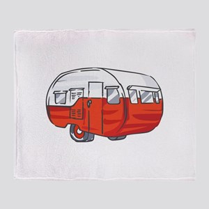 VINTAGE RED CAMPER Throw Blanket
